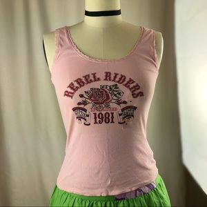GUESS rebel riders pink sky Tank Top size M
